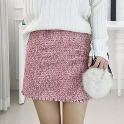 Seoul Fashion - Fringe-Hem Tweed Mini Skirt
