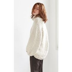 Someday, if - Mock-Neck Hand-Made Chunky-Knit Sweater
