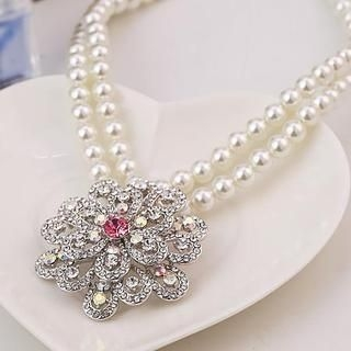 Love Generation - Rhinestone Flower Faux-Pearl Necklace