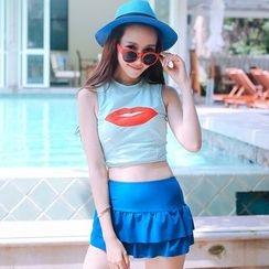 Sewwi - 套裝: 唇印花坦基尼泳衣上衣 + 泳裙