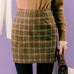chuu - Plaid Mini Pencil Skirt
