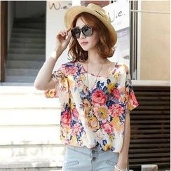 MayFair - Floral Print Short Sleeve Chiffon T-Shirt