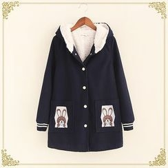 Fairyland - Rabbit Embroidered Hooded Fleece Lined Jacket