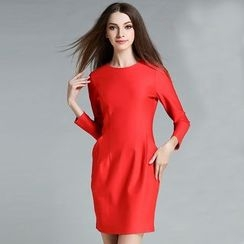 Cherry Dress - Long-Sleeve Sheath Dress