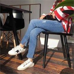 QNIGIRLS - Slit-Hem Skinny Jeans