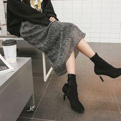 DABAGIRL - Band-Waist Glitter Long Skirt