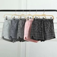 Heybabe - Window Pane Drawstring Shorts