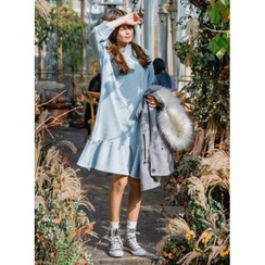 icecream12 - Mock-Neck Fleece-Lined T-Shirt Dress
