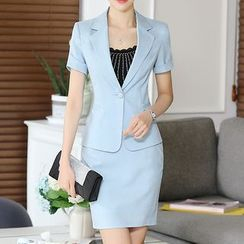 Caroe - Set : Plain Short-Sleeve Blazer + Skirt