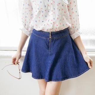 Tokyo Fashion - Zip-Front Denim A-Line Skirt
