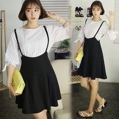 HOTPING - A-Line Suspender Skirt
