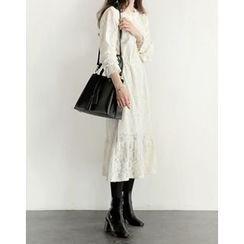 UPTOWNHOLIC - Mock-Neck Laced Long Dress