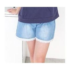 59 Seconds - Lace Trim Drawstring Denim Shorts