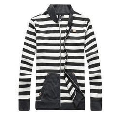K-Style - Mandarin-Collar Striped Zip Jacket
