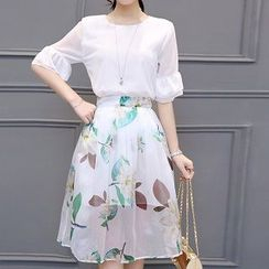Athena - Set: Ruffle Top + Floral Skirt