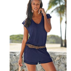 Fundae - Plain V-Neck Short Sleeve Playsuit