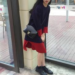 MePanda - Color Panel Long Sleeve Knit Dress