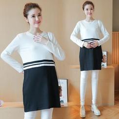 Soswift - Maternity Striped Long Sleeve Tunic + Plain Leggings