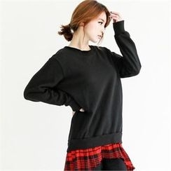 GLAM12 - Check-Pattern Frilled Round-Neck T-Shirt