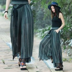 Diosa - Lace Panel Slit Wide Leg Pants