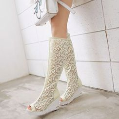Pretty in Boots - Peep Toe Lace Inset Tall Boots