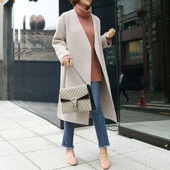 STYLEBYYAM - Wool Blend Collarless Open-Front Coat