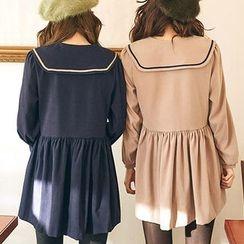 chuu - Sailor-Collar Puff-Sleeve Min Empire Dress