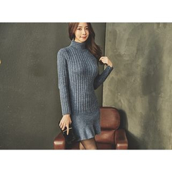 UUZONE - Turtle-Neck Knit Bodycon Dress
