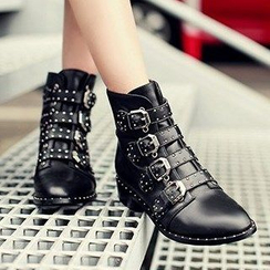 JY Shoes - Buckled Low Heel Ankle Boots