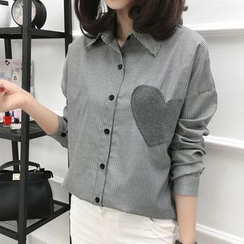 KAKAGA - Long-Sleeve Applique Striped Shirt