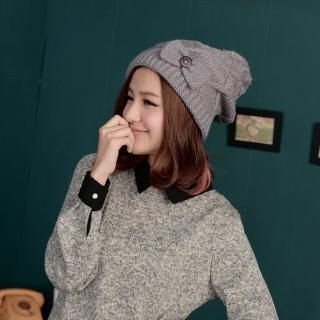 Cuteberry - Bow-Accent Argyle Knit Beanie