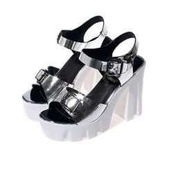 Sidewalk - Buckled Platform Chunky Heel Sandals