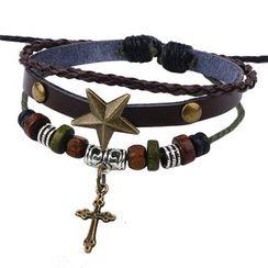 KINNO - Cross Woven Leather Layered Bracelet