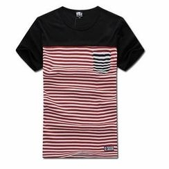 MR.PARK - Contrast Pocket Striped T-Shirt