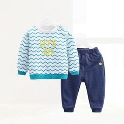 ciciibear - Kids Set: Chevron Sweatshirt + Sweatpants