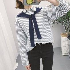 Eva Fashion - Striped Mock Two-Piece Shirt