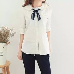Aigan - Lace-Collar Tie-Neck Blouse