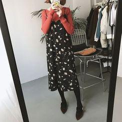 Eva Fashion - 碎花幼肩带雪纺连衣裙