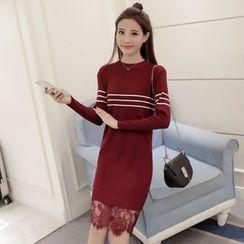 Sienne - Lace Hem Striped Long Sweater