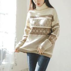 JUSTONE - Turtle-Neck Patterned Sweater