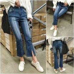 Jeans Kingdom - Slit Boot Cut Jeans