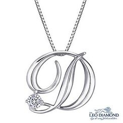 Leo Diamond - Initial Love 18K White Gold Diamond Pendant Necklace (16') - 'D'