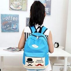 Seok - Mustache Print Nylon Backpack