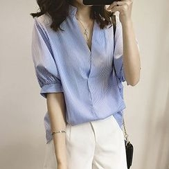 Little V - Batwing Stand-collar Blouse