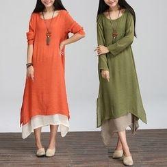 Epoch - Long-Sleeve Linen Midi Dress