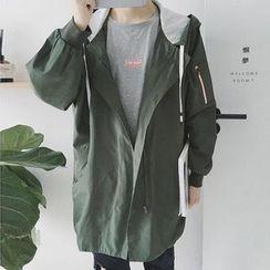 Zeesebon - Plain Long Hooded Jacket