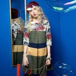 ELF SACK - Printed Color-Block A-Line Dress