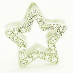 Bmuse - Rhinestone Star Clip On Earrings