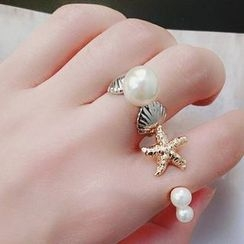 Ticoo - Faux Pearl Open Ring