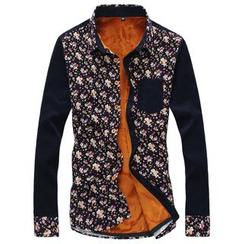 RUYA - Long-Sleeve Fleece-Lined Printed Shirt